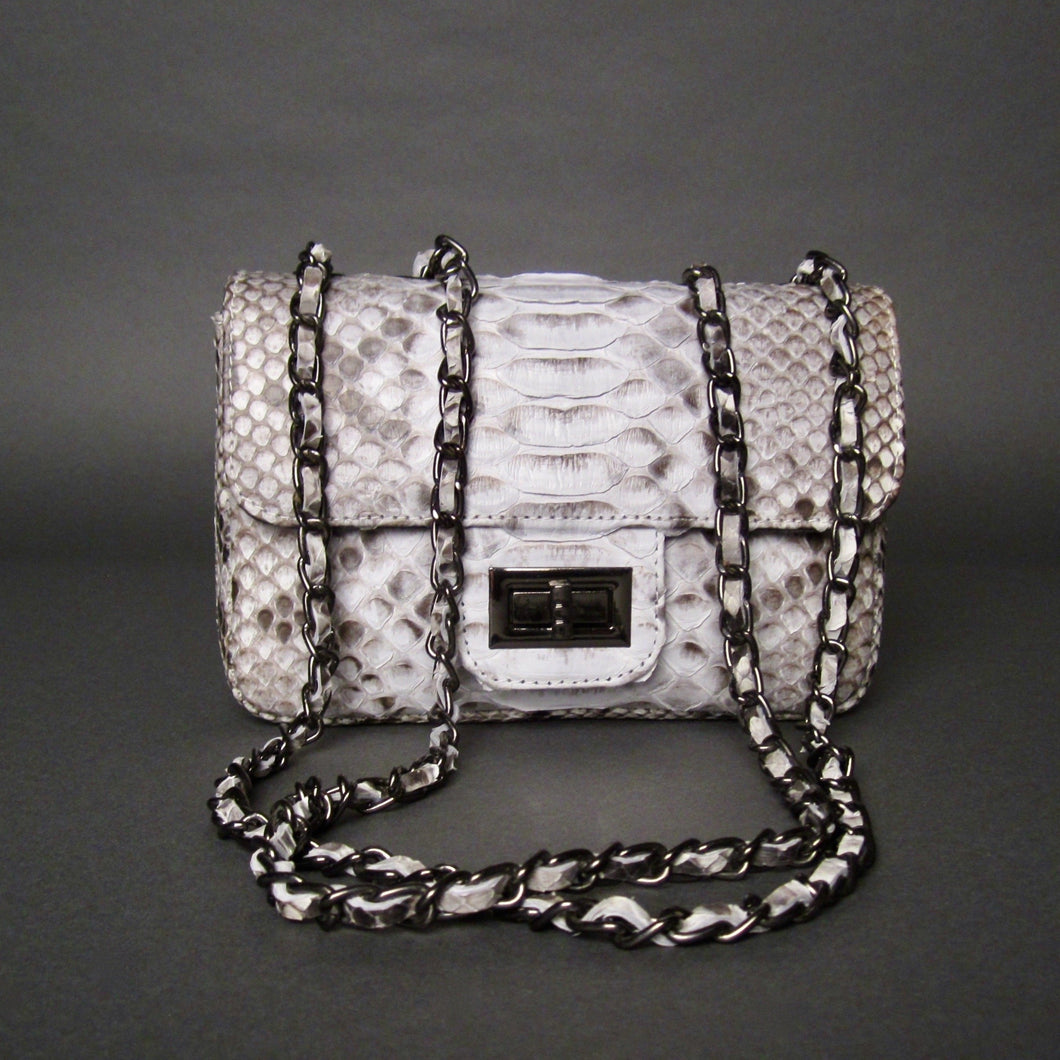 Bee In Style Black Snakeskin Python Leather Crossbody or Clutch Bag