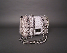 Load image into Gallery viewer, Bee In Style White Natural Motif Snakeskin Python Leather Shoulder Flap Bag