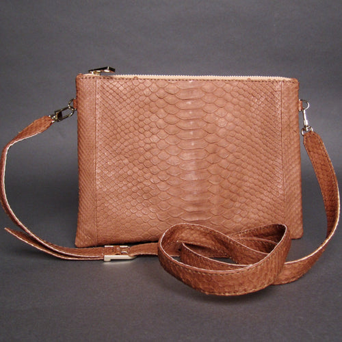 Bee In Style Brown Camel Snakeskin Python Leather Crossbody or Clutch Bag