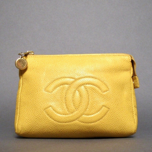 Chanel Yellow Pouch Cc Pebbled Leather Case Cosmetic Bag