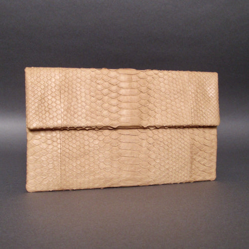 Bee In Style Tan Beige Snakeskin Python Clutch Bag