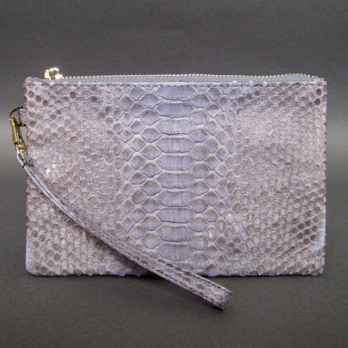 Bee In Style Grey Snakeskin Python Wristlet Clutch Bag
