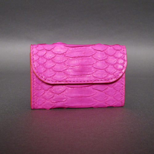 Bee In Style Fuchsia Pink Snakeskin Python Card Holder