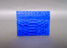 Load image into Gallery viewer, Bee In Style Blue Cobalt Snakeskin Python Slot Card Holder