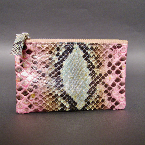 Bee In Style Multicolor Snakeskin Python Zip Pouch