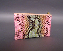 Load image into Gallery viewer, Bee In Style Multicolor Pink Snakeskin Python Zip Pouch
