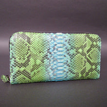 Load image into Gallery viewer, Products Bee In Style Green Python Leather Zippy Wallet