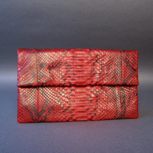Bee In Style Red Motif Snakeskin Python Clutch Bag