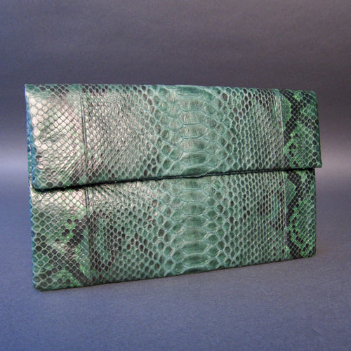 Bee In Style Green Motif Snakeskin Python Clutch Bag