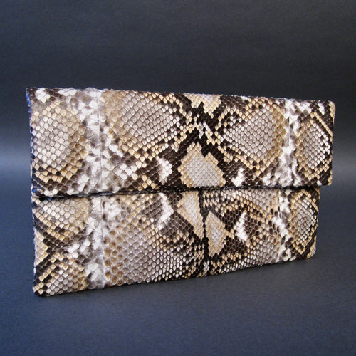 Bee In Style Copper Silver Snakeskin Python Clutch Bag