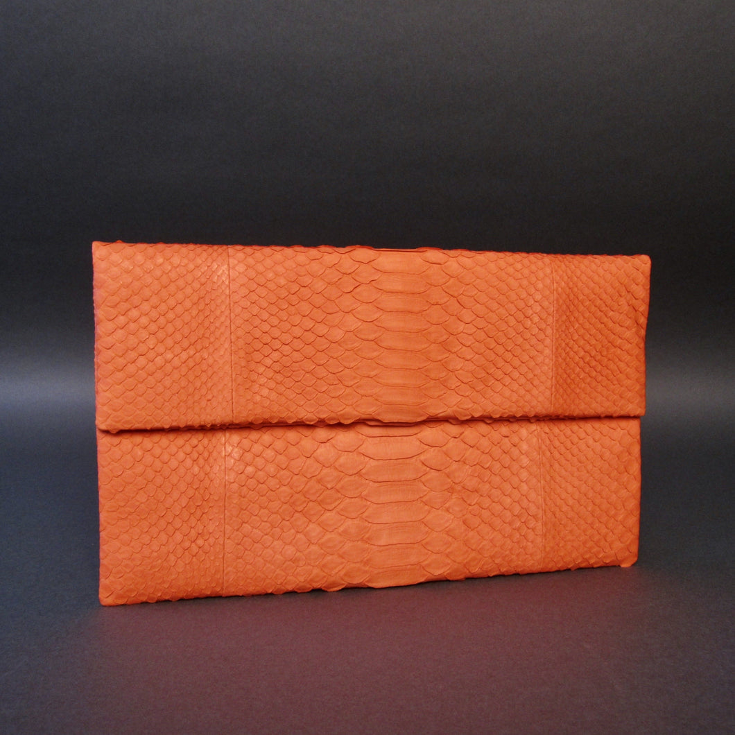 Bee In Style Orange Snakeskin Python Clutch Bag