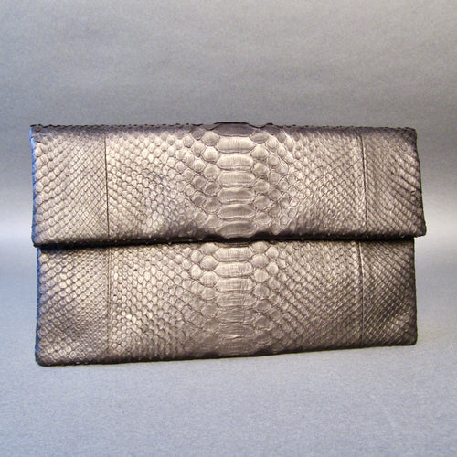Bee In Style Black Snakeskin Python Clutch Bag