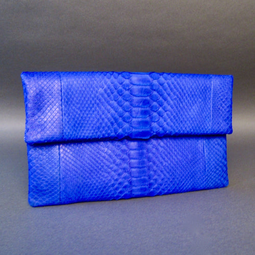 Bee In Style Blue Cobalt Snakeskin Python Clutch Bag
