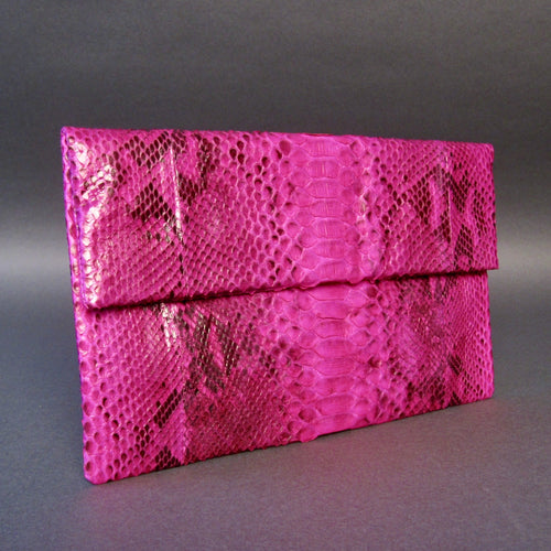 Bee In Style Pink Motif Snakeskin Python Clutch Bag