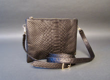 Load image into Gallery viewer, Bee In Style Black Snakeskin Python Leather Crossbody or Clutch Bag