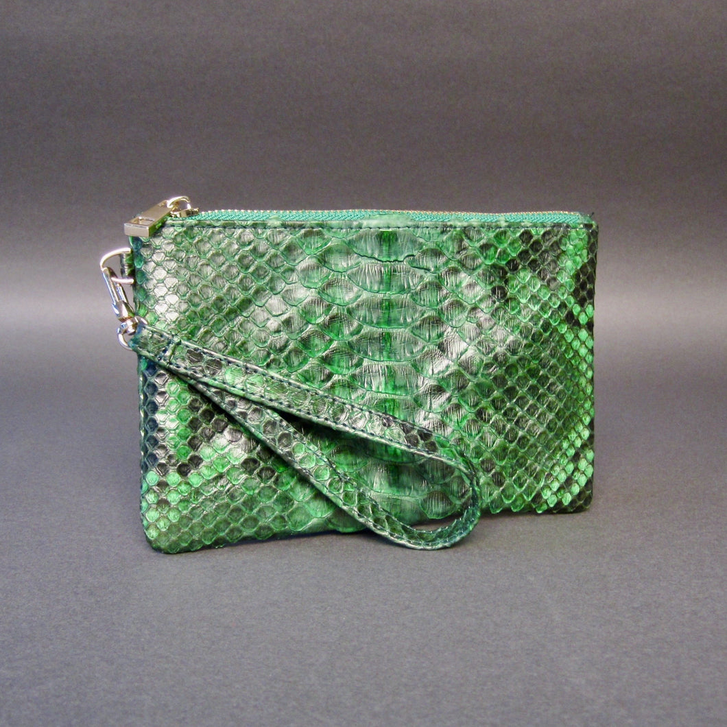 Bee In Style Green Motif Snakeskin Python Wristlet Clutch Bag