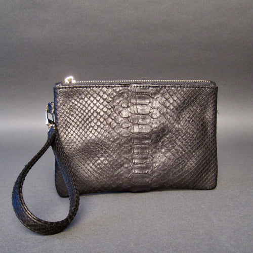 Bee In Style Black Snakeskin Python Wristlet Clutch Bag
