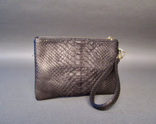 Load image into Gallery viewer, Bee In Style Black Snakeskin Python Wristlet Clutch Bag