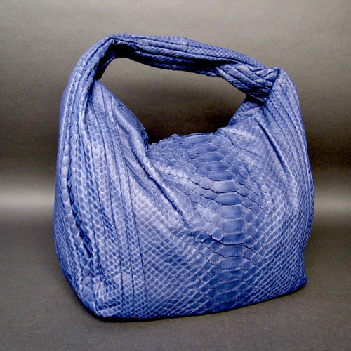 Bee In Style Blue Snakeskin Python Large Hobo Bag
