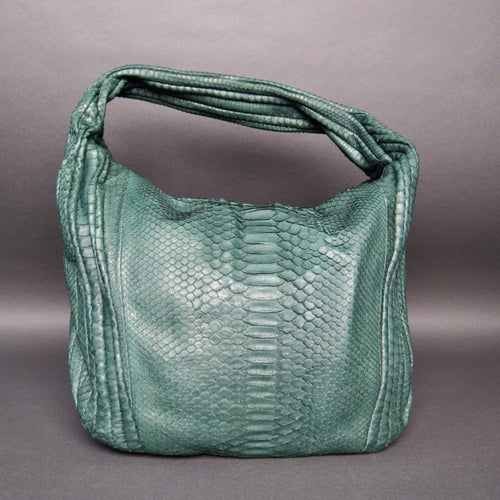 Bee In Style Green Snakeskin Python Large Hobo Bag