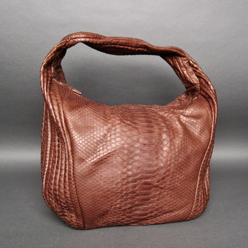 Bee In Style Brown Snakeskin Python Large Hobo Bag