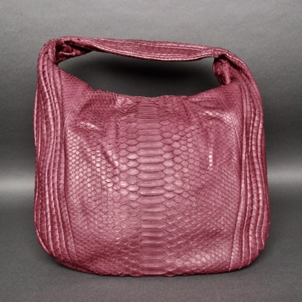 Bee In Style Burgundy Snakeskin Python Large Hobo Bag