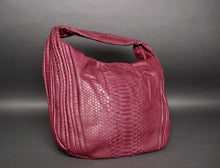Load image into Gallery viewer, Bee In Style Burgundy Snakeskin Python Large Hobo Bag