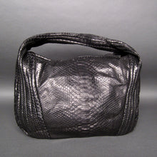 Load image into Gallery viewer, Bee In Style Black Snakeskin Python Large Hobo Bag