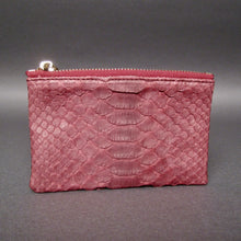 Load image into Gallery viewer, Bee In Style Burgundy Snakeskin Python Zip Pouch
