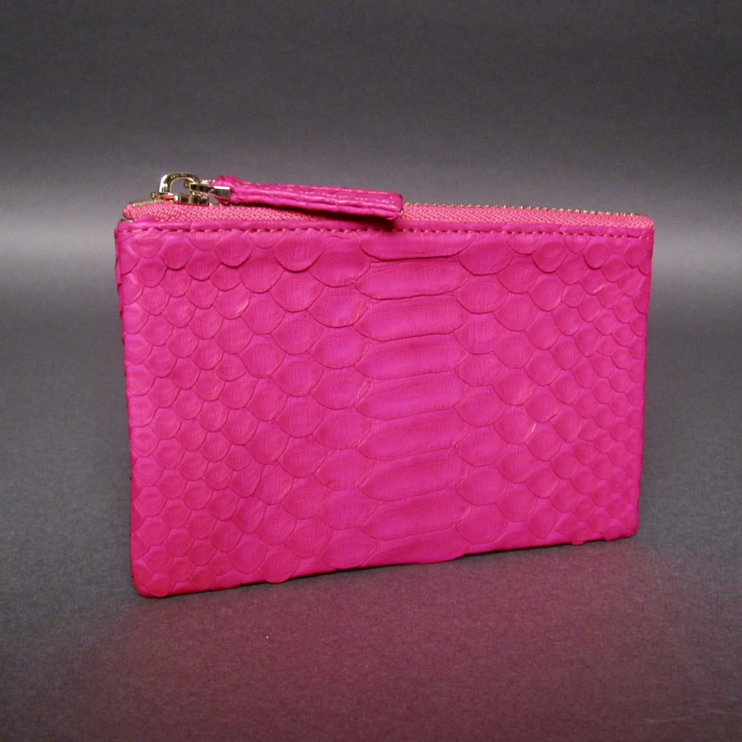Bee In Style Pink Fuchsia Snakeskin Python Zip Pouch
