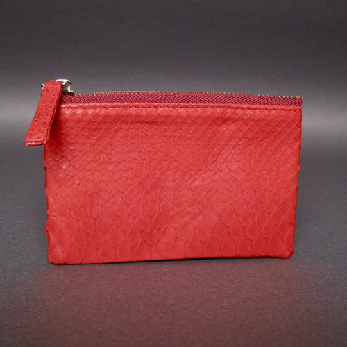 Bee In Style Red Snakeskin Python Zip Pouch