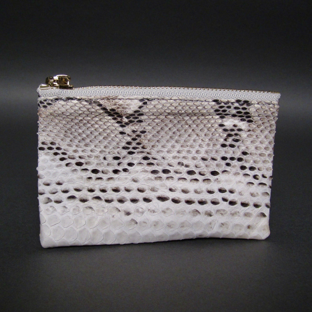 Bee In Style Natural Snakeskin Python Zip Pouch