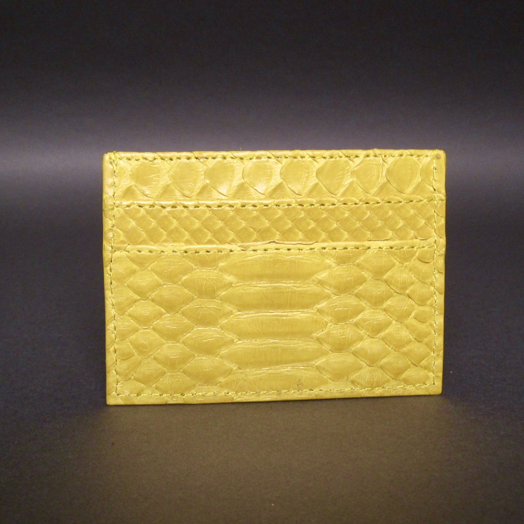 Bee In Style Yellow Snakeskin Python Slot Card Holder