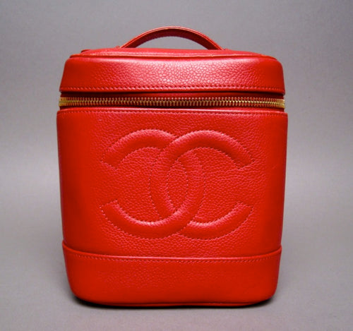 Chanel Red Caviar Leather Vanity Case Bag