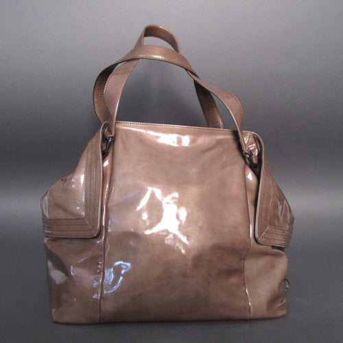 Salvatore Ferragamo Brown Patent Leather Tote Bag