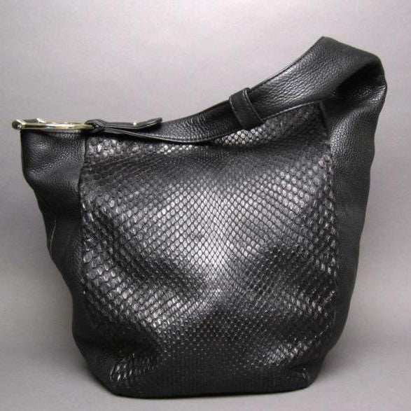 Gucci Black Python and Leather Greenwich Large Hobo Bag
