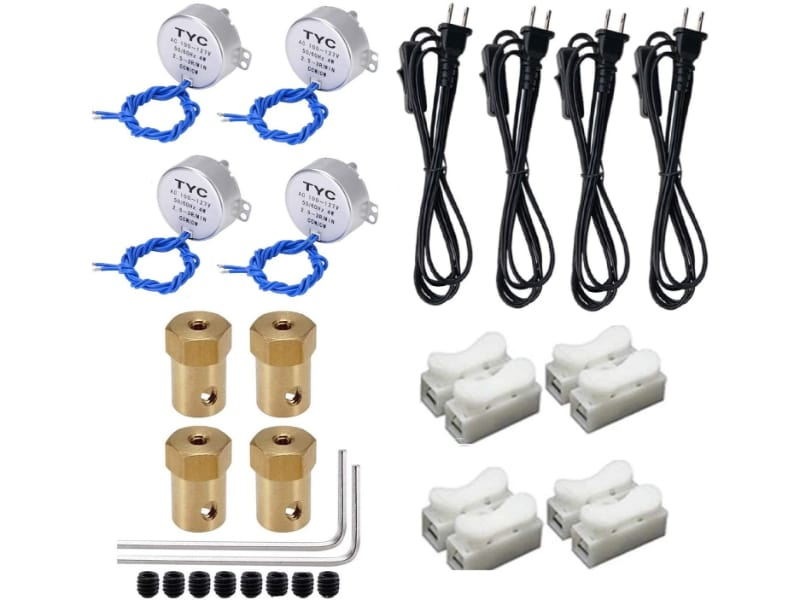 Set of 4 motors and accessories (power cords with switch, connectors, couplings, Allen wrench, and screws) for slow cup turners