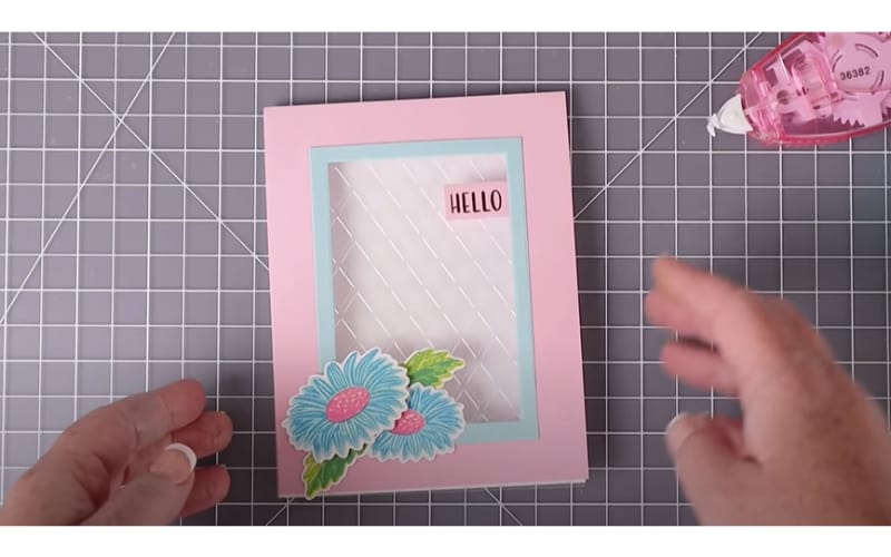 acetate embossed card in a window-type card
