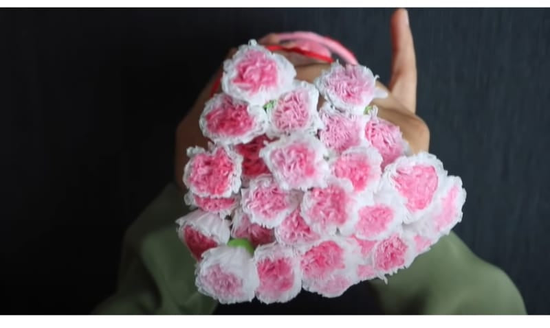 Lovely tissue paper flowers highlighted with watercolor to make it look more realistic
