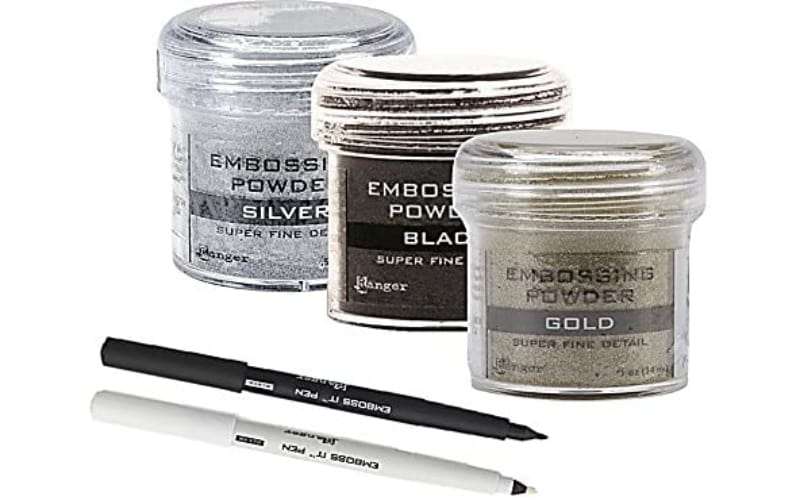 Emboss It embossing pens (black and clear ink) and embossing powders in metallic gold, metallic silver, and black