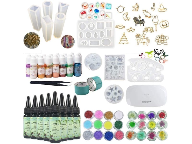 Complete kit of UV resin lamp and supplies for making UV resin jewelry crafts