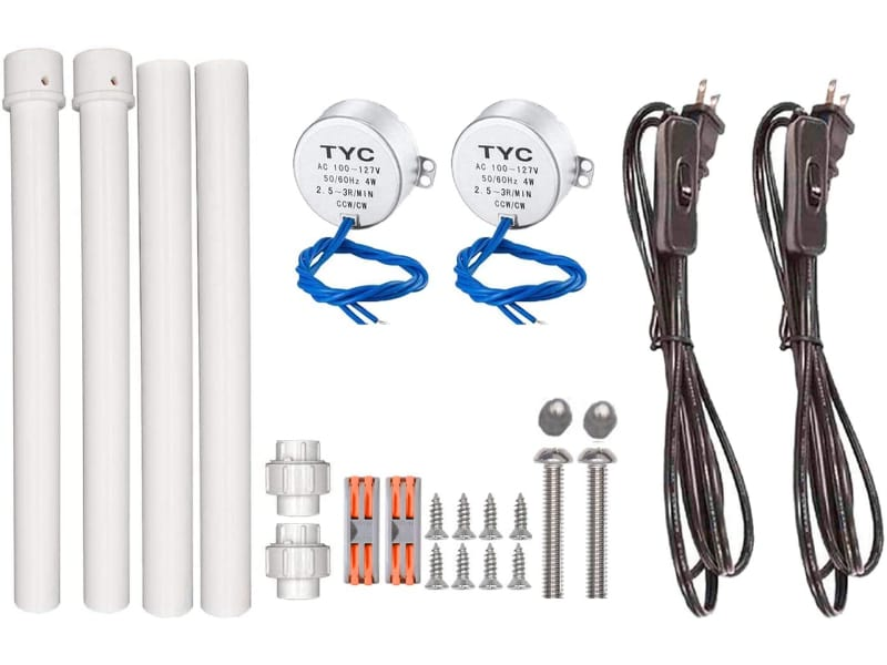 Set of 2 motors and accessories (power cords with switch, PVC wands, connectors,  and screws) for slow cup turners