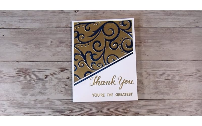 embossed foil cardstock made into a greeting card
