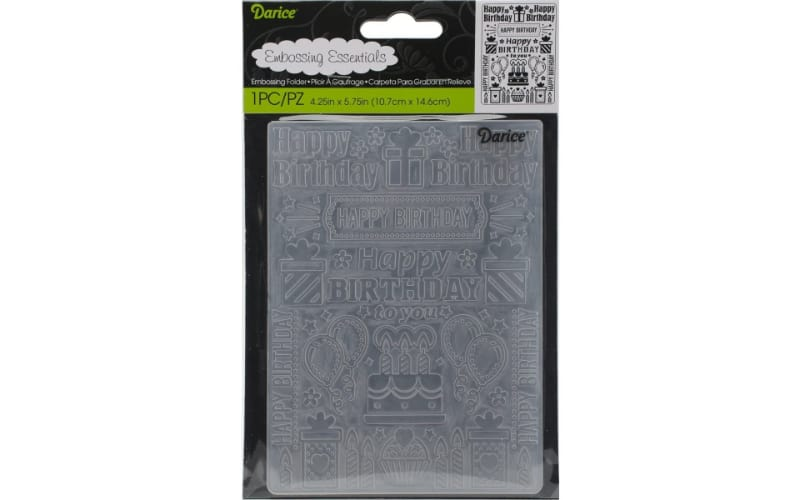 a transparent birthday-themed embossing folder in plastic storage envelop