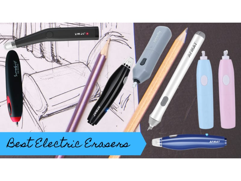 various electric erasers and pencils strewn over a charcoal sketch