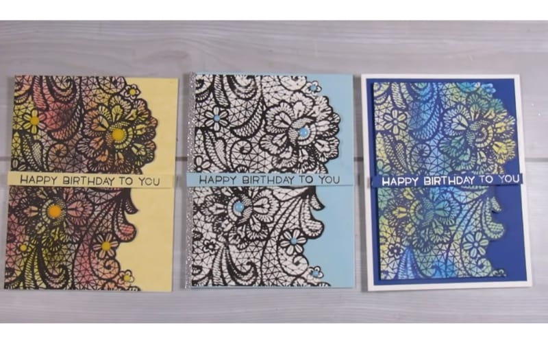 birthday cards made from embossed cardstock with lace design