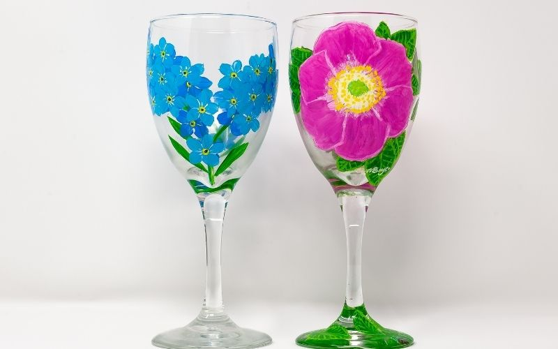 Two Painted Wine Glasses 'Artfully' Photographed
