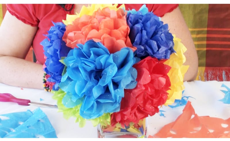 A bouquet of Cinco de Mayo flowers made from various colors of tissue paper