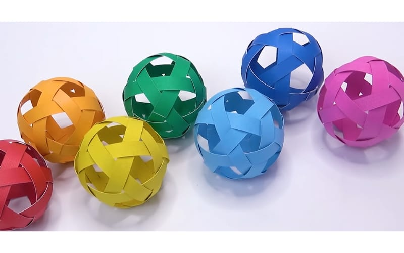 Colorful construction paper balls to use as decors