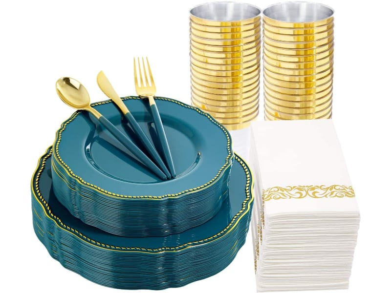 Plastic Plates (Teal with Gold Rim) & Disposable Plastic Cutlery